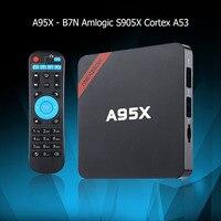 최대 2 기가바이트 RAM + 16 기가바이트 ROM NEXBOX A95X 스마트 안드로이드 TV 박스 안드로이드 6.0 Amlogic S905X 쿼드 코어 비트