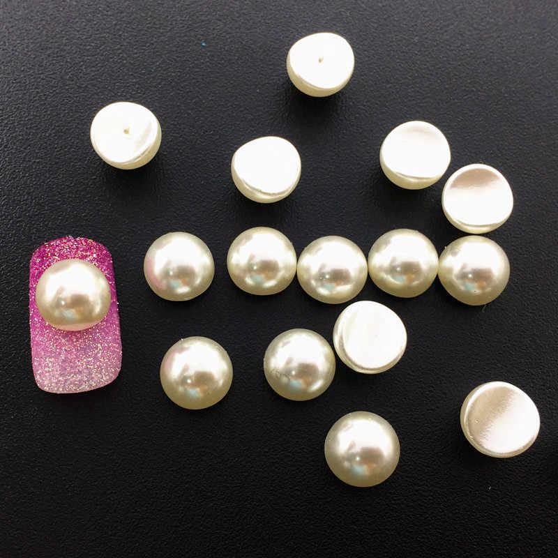 50 шт./упак. Япония Корея сплав для маникюра 3D 6 мм 8 мм бежевый вогнутый Жемчуг Металлические Аксессуары для фототерапии наклейки для ногтей DIY
