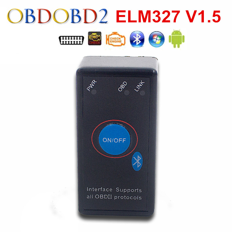 Prix pour Mini ELM327 Bluetooth V1.5 Avec le Commutateur Électrique Fonctionne Sur Symbian/Android/Windows OBD2/OBDII Diagnostic Scanner Livraison gratuite