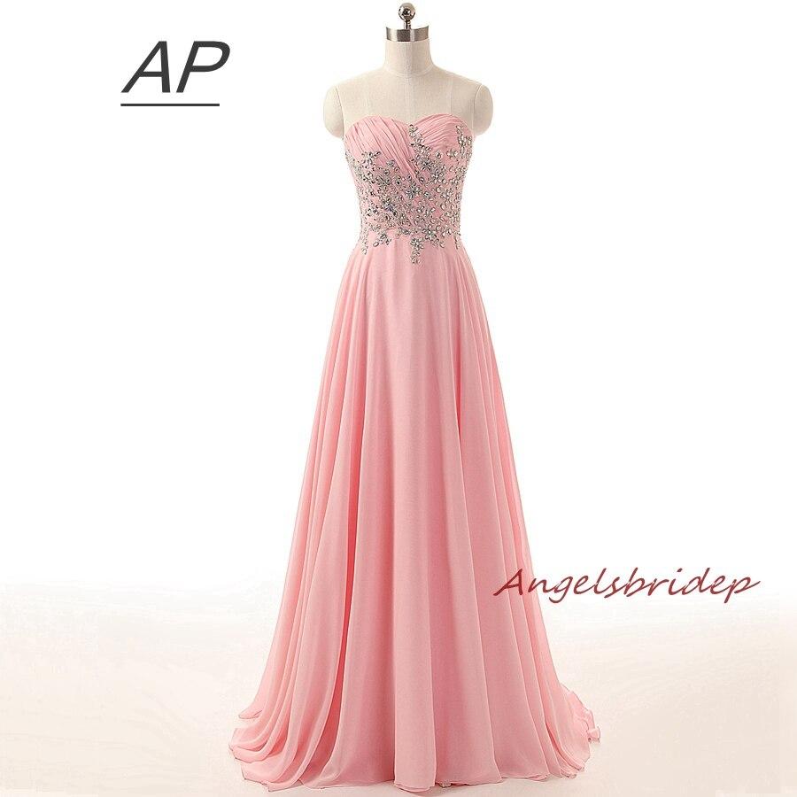 Vestido Longo Pink Evening Dresses Chiffon Elegant Sweetheart Applique Abendkleider 2019 Girl Party Formal Dress Fast