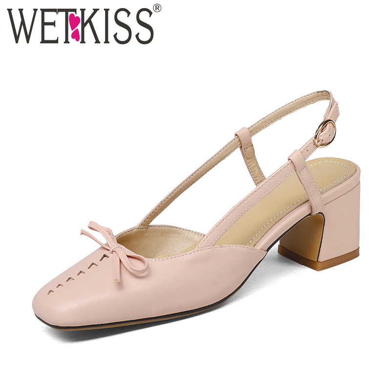 WETKISS Big Size High Heels Women Sandals Square Toe Butterfly Knot Buckle Strap Footwear 2018 Summer Fashion Dress Ladies Shoes lucyever women vintage square toe flat summer sandals flock buckle casual shoes comfort ankle strap women footwear mujer zapatos
