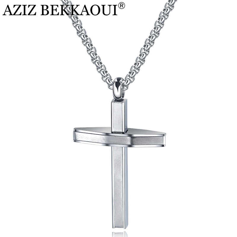 AZIZ BEKKAOUI Engrave Name Stainless Steel Cross Pendant Necklaces For Men Long Chain Necklace Christian Symbol Nice Gift