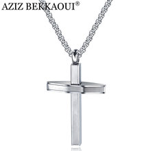 AZIZ BEKKAOUI Engrave Name Stainless Steel Cross Pendant Necklaces For Men Long Chain Necklace Christian Symbol Nice Gift(China)