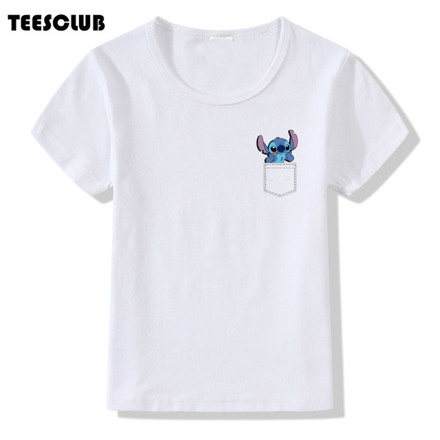 2b2ac66e7225 Kawaii Lilo and Stitch Cartoon Print T shirt Children Fake Pocket Design Kids  Short Sleeve Summer T-shirt Baby Boys O-neck Tops