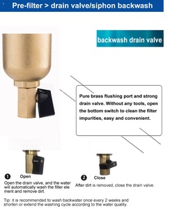 Image 3 - Siphon backwas Pre filter water filter purifier system whole brass body stainless steel mesh prefiltro with gauge free shipping