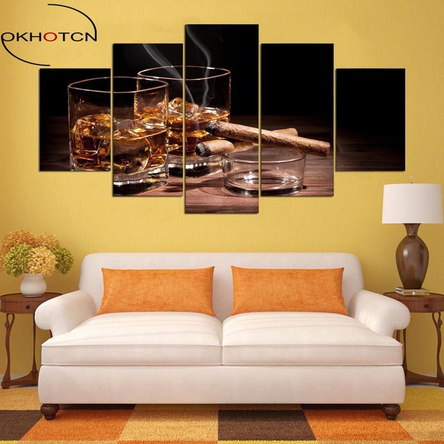 OKHOTCN 5 Pieces Canvas Prints Wine & Cigar Painting Still Life Home ...