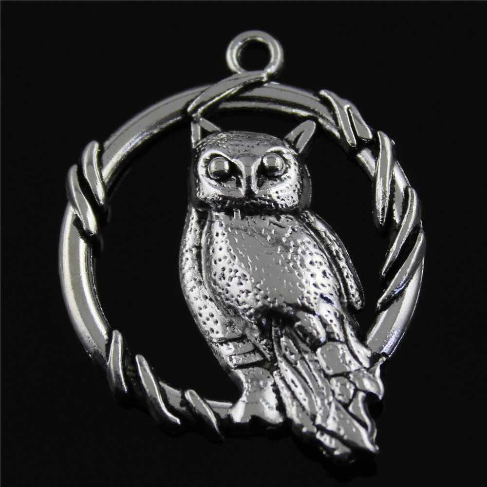 Sowa wisiorek Charms Diy Metal tworzenia biżuterii antyczne srebro kolor 46x37mm