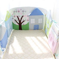 Baby Bed Bumper Soft Skin Friendly Cot Bumper Cotton Baby Bed Protector For Newborns Crib House Shape Bed Decorators For Infant
