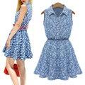 Softu summer dress tanque sem mangas turn-down collar floral impresso mini bonito a linha natural cintura vestidos de moda s-xl