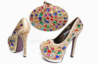 High Quality Crystal High Heels African Shoes And Bag Set Women Shoes And Handbag Set To