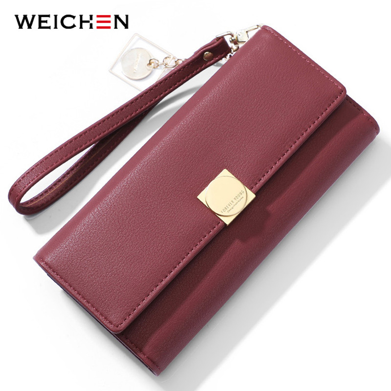 WEICHEN Women Wallet  Many Departments Card Holder Cell Phone Packet Female Wallets Ladies Wristband Clutch Purse Brand Design