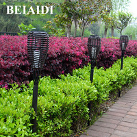 BEIAIDI 3PCS Solar Garden Landscape Lawn Lamps Outdoor Flickering Flames Torches Light Solar Patio Deck Spike