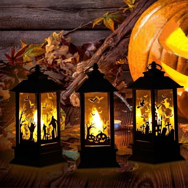 2018 Halloween Pumpkin Light Lantern For Home Bar School Halloween Decoration Artificial Flame Small Oil Pumpkin Printed Lamp