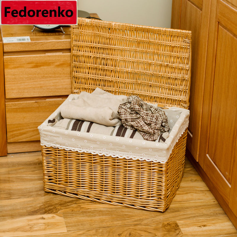 Pastoral groceries small large wicker storage baskets with lids decorative square covered wicker baskets for gifts organizer box
