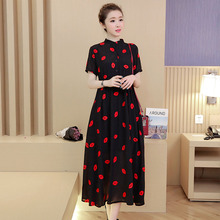 2017 New design fashion summer maternity clothing plus size sexy red lips embroidered one-piece dress chiffon loose skirt