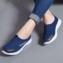 Zapatillas de deporte de primavera y verano para mujer, zapatillas planas ligeras de malla transpirable, zapatos informales a la moda para mujer, zapatos para caminar al aire libre de talla grande 35-43