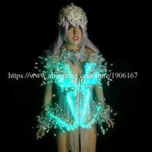 Светодиодной подсветкой светящиеся пикантные Для женщин костюм одежда с Головные уборы LED кристалл ночной клуб Stage выступлений DS костюм