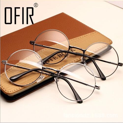 Women Vintage Glasses Frame Plain Mirror Big Round Metal Optical Frame For Girl Eyeglass Clear Lens oculos feminino de grau AL 2