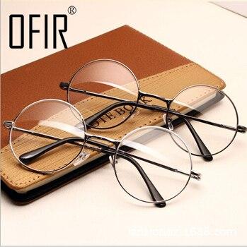 Glasses Frame Plain Mirror Big Round Metal Optical Frame For Girl Eyeglass Clear Lens