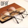 Las mujeres de La Vendimia Enmarcan el Espejo Llano Grande Redondo de Metal Óptica marco Para La Muchacha feminino oculos de grau Gafas Lente Transparente AL-2