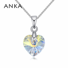 ANKA fashion small heart necklace colorful heart Crystals from Swarovski necklace pendants copper jewelry gift for woman #125615(China)