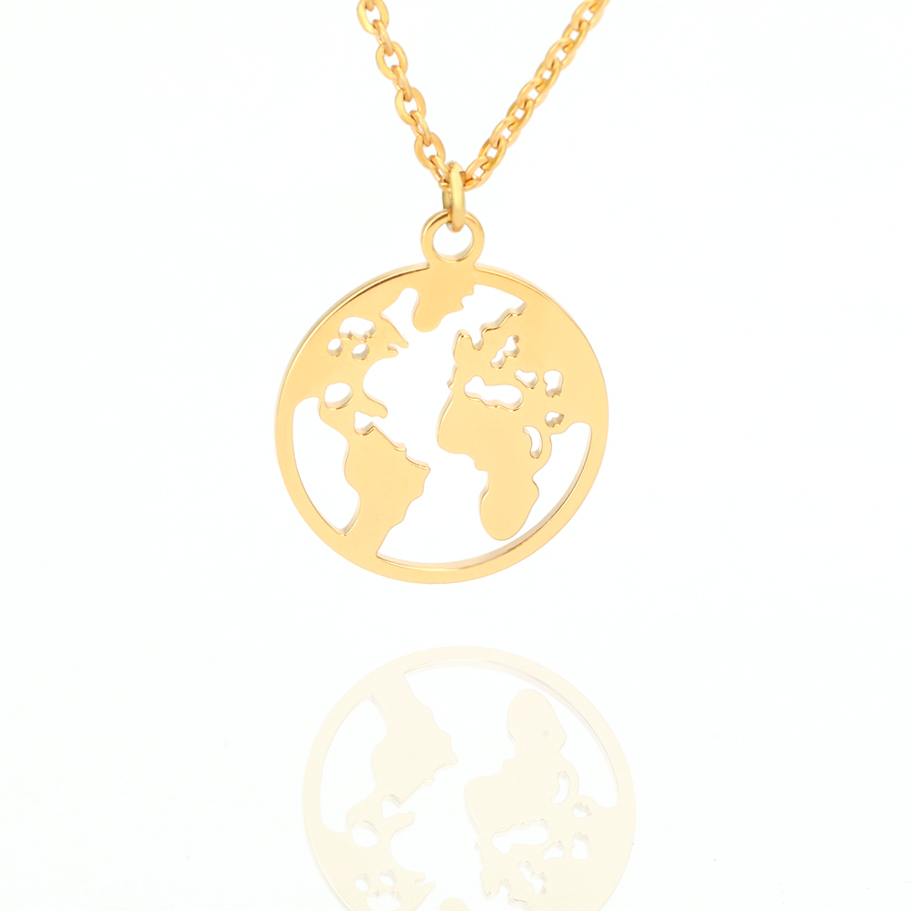 Globe World Map Necklace Hot Selling Round Hollow Multi Double Layers Out Earth Personalized Pendants