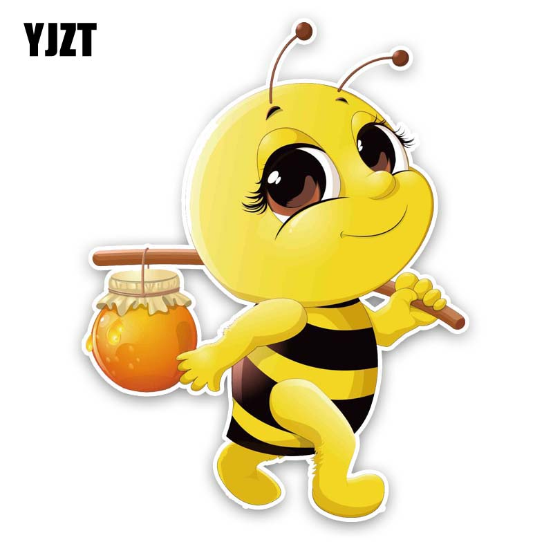 YJZT 15.1CM*19.8CM Bees With Honey Decal PVC Car Sticker 12-300600