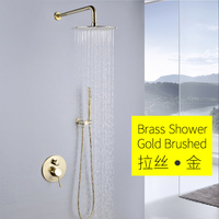 Cold and hot water all copper wire drawing gold concealed flower sprinkled into wall shower suit circular Hotel embedded brushed
