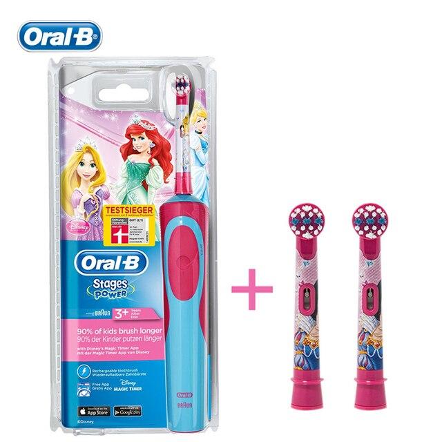 BRAUN Oral B Безопасность Детей Электрическая Зубная Щетка D12513K Аккумуляторная Водонепроницаемый Принцесса Зубы щеткой + 2 головки для Детей в Возрасте От 3 +
