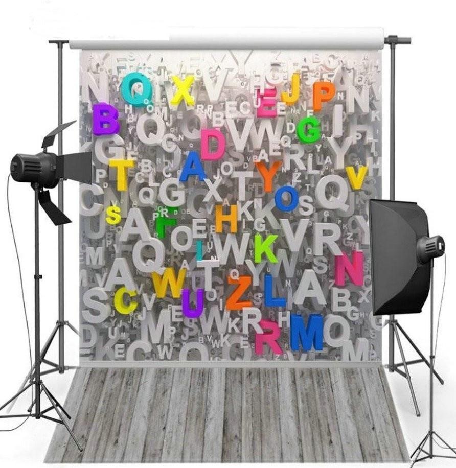 3D Color Letter Gray Grey Wood Floor photo backdrop Vinyl cloth High quality Computer Print Children kids Backgrounds