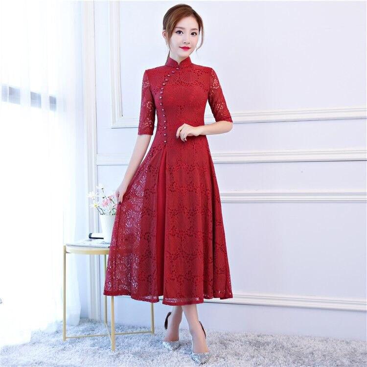 Mode été femmes Long Cheongsam nouveauté Style chinois dentelle robe élégante Qipao Vestidos taille S M L XL XXL XXXL 6C5894-in Robes from Mode Femme et Accessoires    1