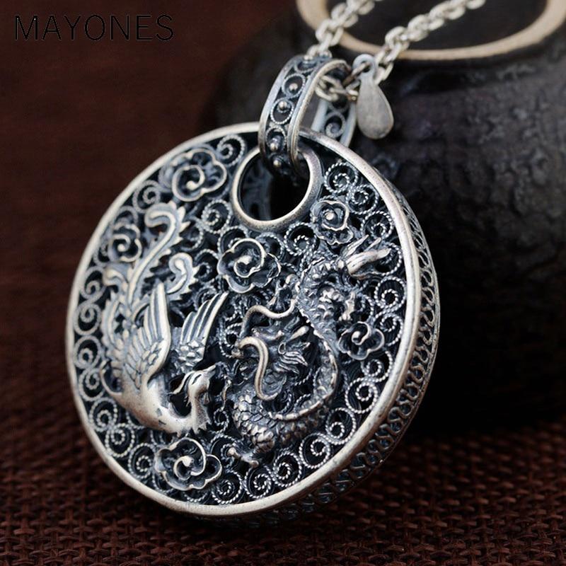Réel 925 argent Phoenix pendentif Dragon Animal bonne chance 100% pur S990 solide Thai argent pendentifs pour femmes hommes fabrication de bijoux
