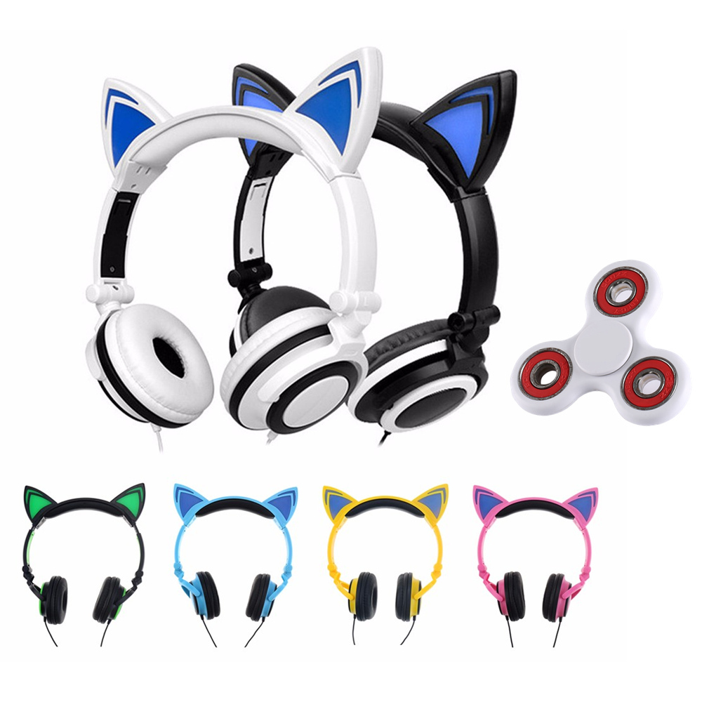 LED Tri-Spinner Fidget & Foldable Flashing Glowing cat ear headphones Gaming Headset Earphone with LED light For PC Mobile Phone teamyo glowing cat ear headphones gaming headset auriculares music earphone with led light for iphone xiaomi mobile phone pc mp3