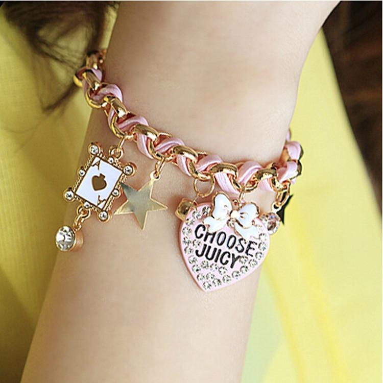 2017 New Trendy Leather Bracelet, Lovely Flower G Poker A Star heart Bracelets for Women,Cute Girl Charm Braclet Pulseras Hombre
