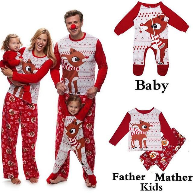 0506948fda 2018 NEW Family Matching Christmas Pajamas Dad Mom Kid Baby Sets Xmas Deer Sleepwear  Nightwear Tops +Pants Set