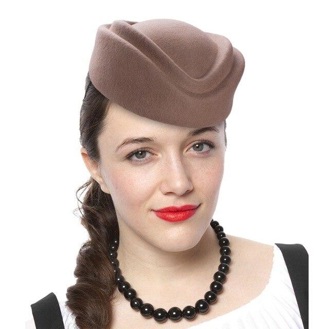 Lawliet boina mujer sombreros ranura azafata de sombreros de fieltro de lana  azafatas sombreros Fascinator Base 17311c6e472