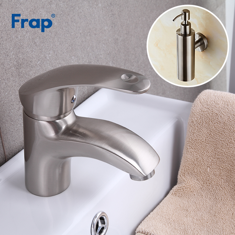 цена на Frap Deck Mounted Basin Faucet Brushed Nickel Hot and Cold Water Mixer Taps Crane With Liquid Soap Dispenser F1021-5+Y18001