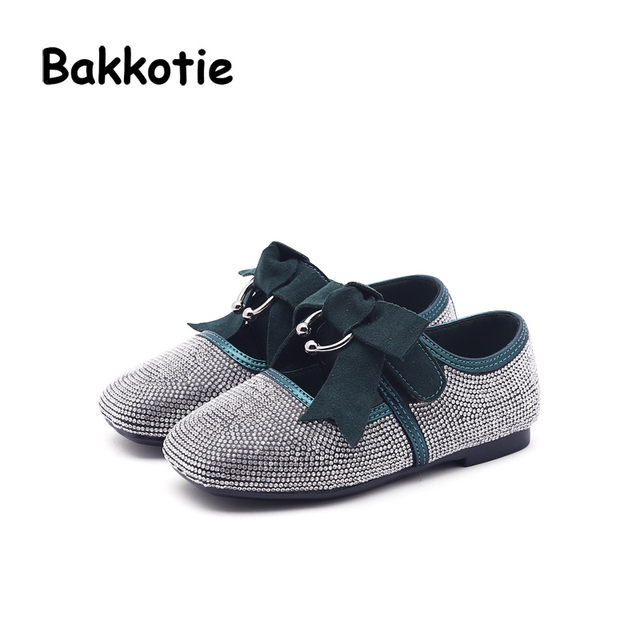 Bakkotie 2018 Spring New Fashion Children Princess Rhinestone Flat Baby  Girl Bow Shoe Kid Pu Leather Cute Party Brand Mary Jane afa435b84f6f
