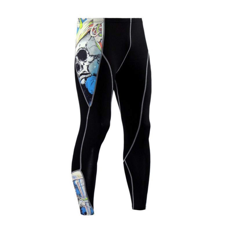 Mens Compression Quick Dry Running Tights Pants Basketball Gym Pants Bodybuilding Jogging Skinny Leggings Printing Sportswear