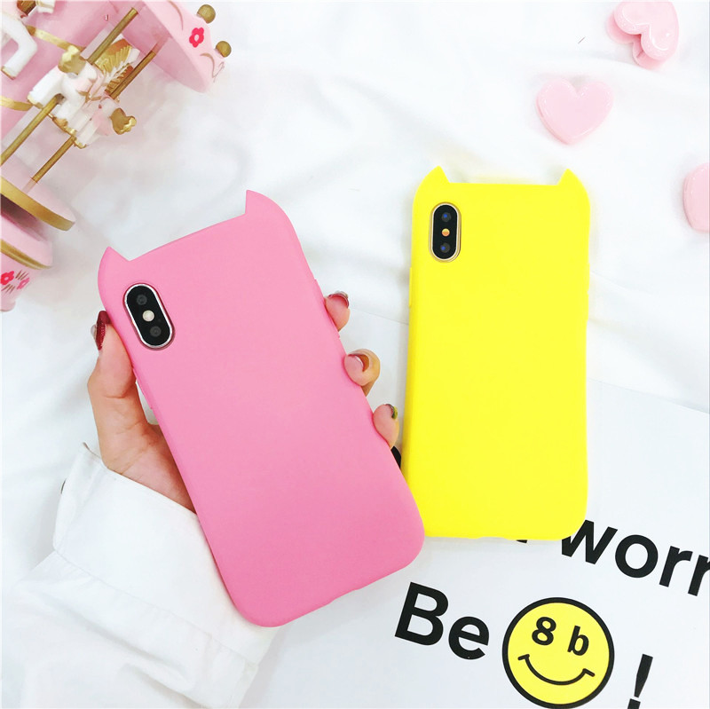 Cat Cute Ears Phone Case for iPhone X 8 8plus Liquid Silicone Case Anti-shock Protective Shell Cover Case for iPhone 7 7Plus 6P