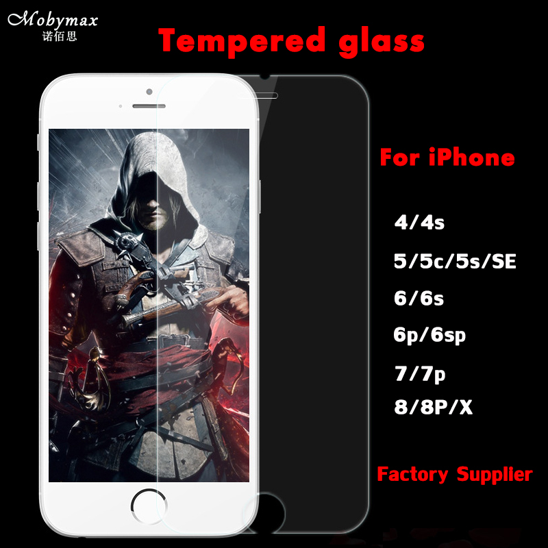 Mobymax Screen Protector Tempered Glass Film Pantalla for iPhone X 8Plus 7 7 Plus 6 6S 6G Plus 5 5S 5G 4 4S 4G+Retailing Boxes