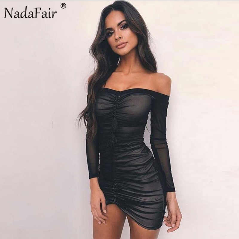 ... Nadafair Long Sleeve Off Shoulder Backless Ruched Sexy Club Bodycon  Mesh Party Dresses White Black ... 7d969a2cd