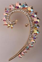 Левого уха wrap манжеты клип серьги для женщин gold & посеребренная австрийский хрусталь украшения для женщин SC44 оптовая челнока(China (Mainland))