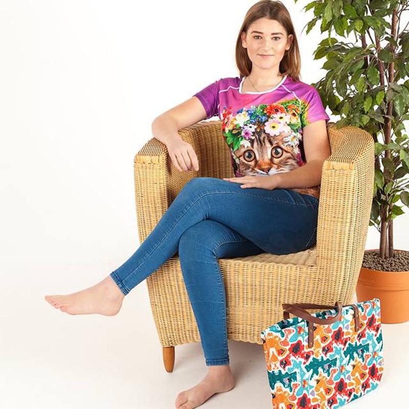 Nopersonality 3D Wolf Muster T-Shirt Damenmode T-Shirt Lustige Animal - Damenbekleidung - Foto 3