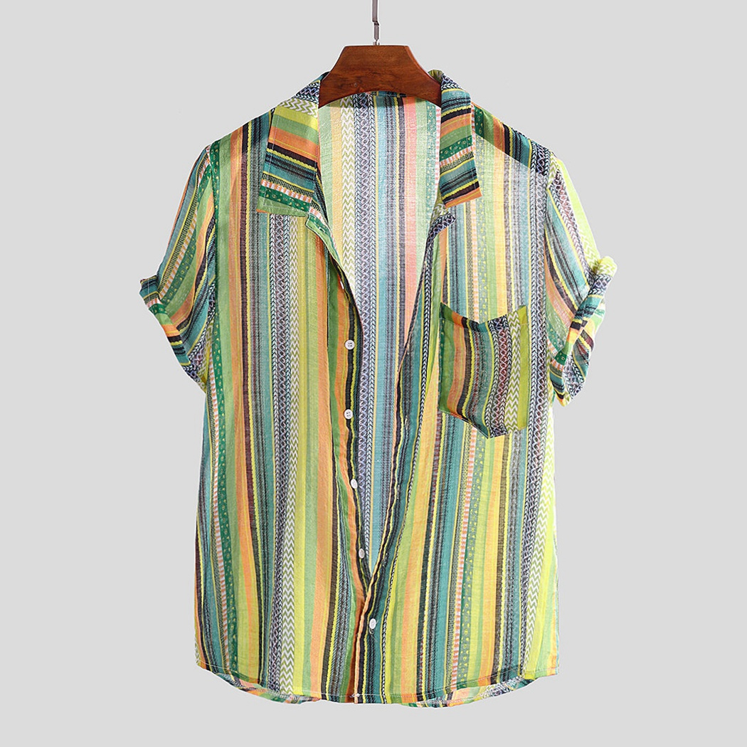 Mens Colorful Striped Print Beach Shirts Summer Mens Short Sleeve Turn Down Collar Shirts Plus Size Casual Pockets Male Shirts