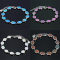 2016 New Fashion Link Bracelet Round Fire Opal 4 Color Silver Friendship Bracelets & Bangles Wedding Jewelry Party Gift SL006