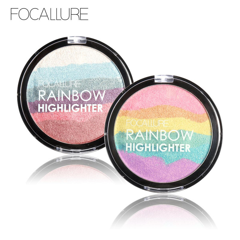 DIY Rainbow Highlighter Powder Palette Bronzer Contour Soft Mineral Face Highlighter Makeup Palette Kit