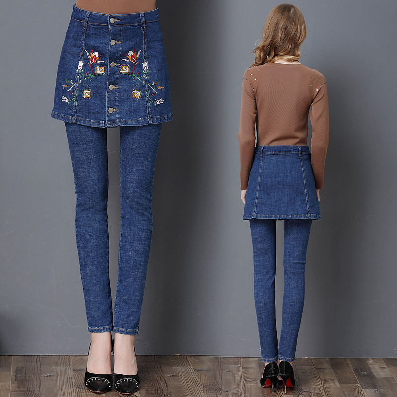 New Fashion Slim Fit High Waist Jeans Embroidered Jeans Women Pencil Pants Skinny Trousers For Lady Jeans Denim Femme Plus Size 2017 new skinny jeans lady jeans pants blue low waist slim pencil pants denim jeans women trousers size 5xl free shipping
