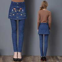 New Fashion Slim Fit High Waist Jeans Embroidered Jeans Women Pencil Pants Skinny Trousers For Lady