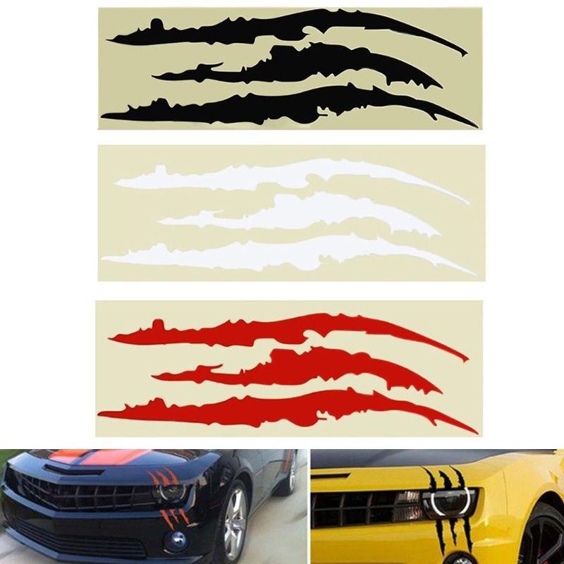 Black Universal Car Headlight Scratch Stripe Decal Sticker Claw Stripe Slash